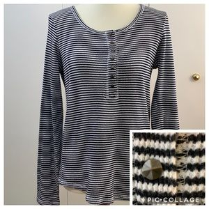 Lucky Brand Large Henley striped black white